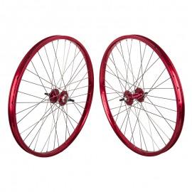 "26""x1.75"" Sealed Bearing Alloy Wheelset RED"