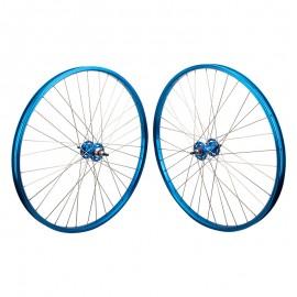 """29""""x1.75"""" Black Ops / SE Sealed Bearing High Flange Alloy Wheelset BLUE"""