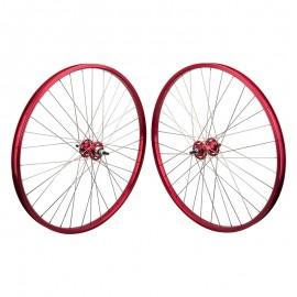 """29""""x1.75"""" Black Ops / SE Sealed Bearing High Flange Alloy Wheelset RED"""