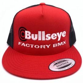 """Bullseye """"Factory BMX"""" Snapback Hat RED / BLACK / WHITE"""