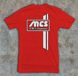 MCS Bicycle Components Stripe Retro t-shirt BLACK or RED