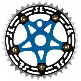 SE Racing 39T 5-bolt Chainring / Spider combo BLACK/GOLD/BLUE