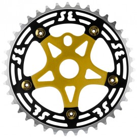 SE Racing 39T 5-bolt Chainring / Spider combo BLACK/GOLD/GOLD