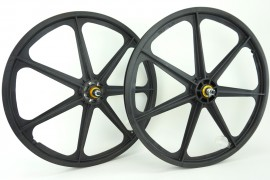 "BLACK 24"" Skyway TUFF WHEEL SET with GOLD HUBS- Freewheel"