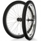 "26""x1.75"" S&M / FIT Sealed Bearing Alloy Wheelset w/ Tires BLACK Hubs / SILVER Rims"