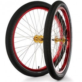 """26""""x1.75"""" S&M / FIT Sealed Bearing Alloy Wheelset w/ Tires GOLD Hubs / RED Rims"""