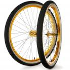 "29""x1.75"" S&M / FIT Sealed Bearing Alloy Wheelset w/ Skinwall Tires GOLD Hubs & Rims"