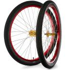 "29""x1.75"" S&M / FIT Sealed Bearing Alloy Wheelset w/ Tires GOLD Hubs / RED Rims"