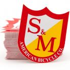 S&M Bikes MEDIUM shield logo sticker 5-pack RED/YELLOW
