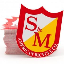 S&M Bikes MEDIUM shield logo sticker 5-pack RED/YELLOW