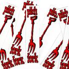 S&M Bikes replacement PITCHFORK decal set ORIGINAL STYLE (2 decals) RED