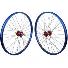 "26""x1.75"" Sealed Bearing Sun Rhynolite Alloy Wheelset RED hubs / BLUE rims"