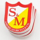 S&M Bikes SMALL shield logo sticker 5-pack RED/YELLOW