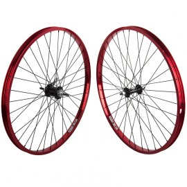 "26"" alloy Weinmann 7X wheelset w/ Coaster Brake hub RED Rims / BLACK Hubs & Spokes"