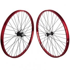 "26"" alloy Weinmann 7X wheelset w/ Coaster Brake hub RED Rims / BLACK Hubs & Spokes"