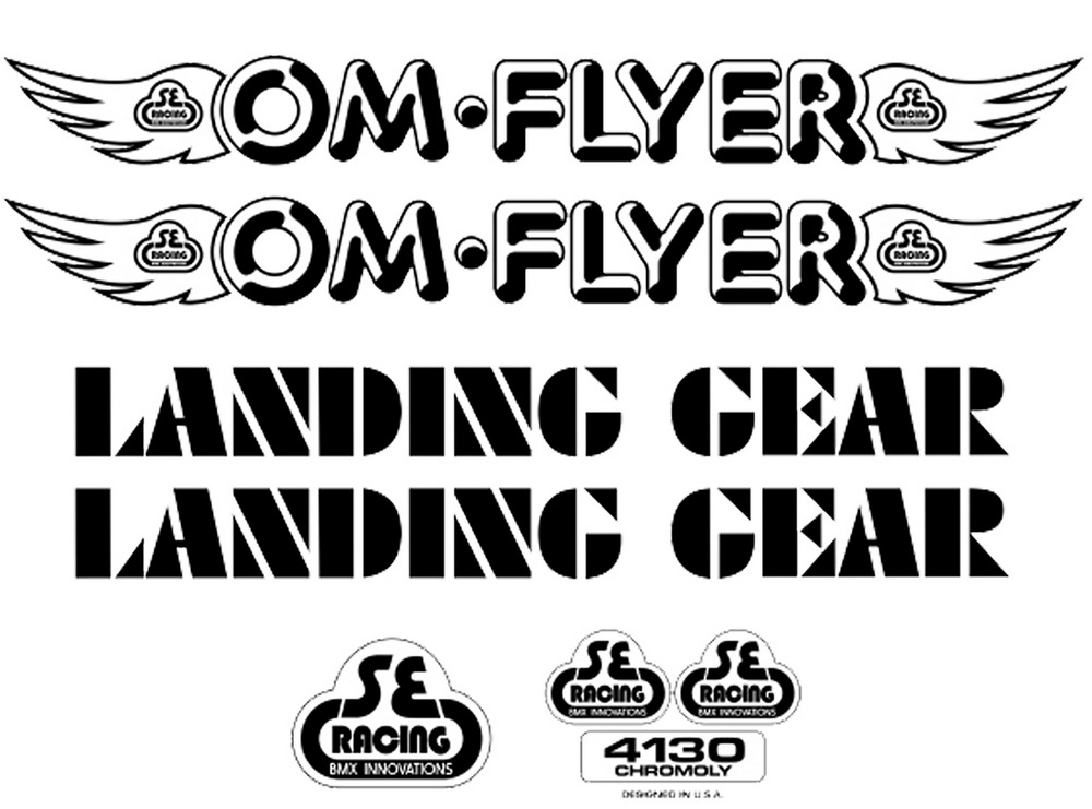 SE Racing OM Flyer frame /& fork decal kit white BMX  BIKE LIFE